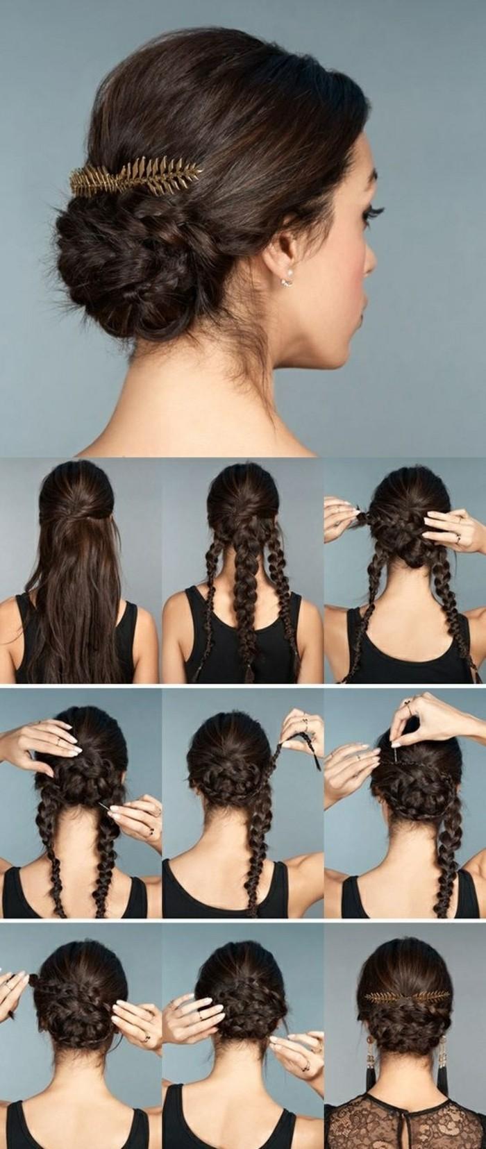 Acconciature facili, chignon con trecce, capelli molto lunghi