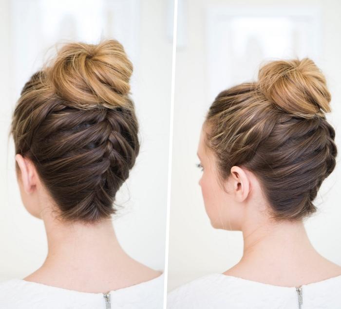 Acconciature semplici capelli medi, capelli con chignon, treccia francese