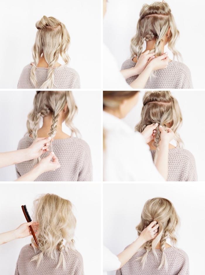 Come fare le trecce, pettinature capelli medi, tutorial per acconciatura raccolta