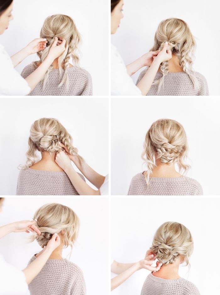 Acconciature capelli raccolti per cerimonia, donna con capelli biondi, come fare le trecce