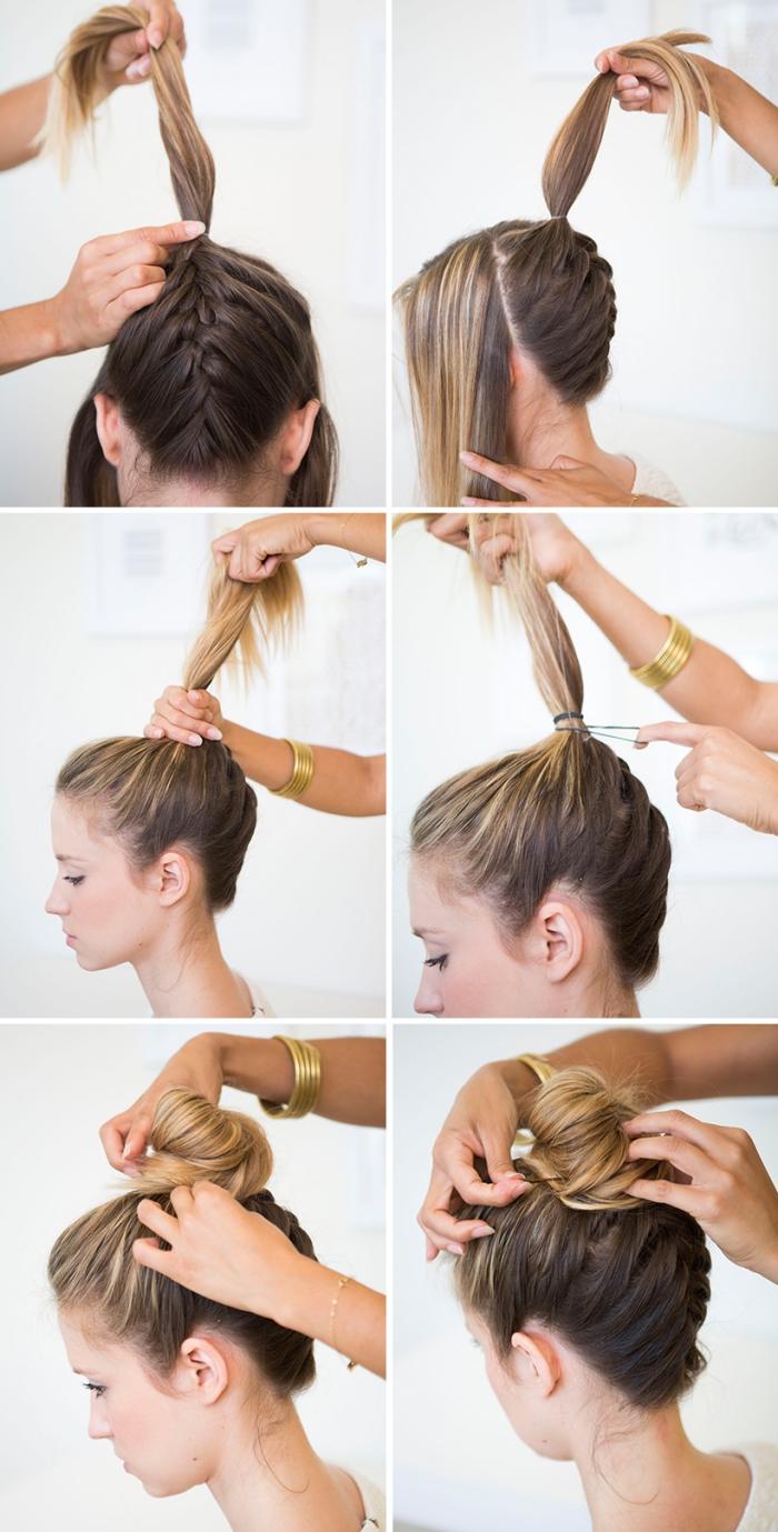 Acconciature capelli raccolti per cerimonia, treccia francese, tutorial per la pettinatura