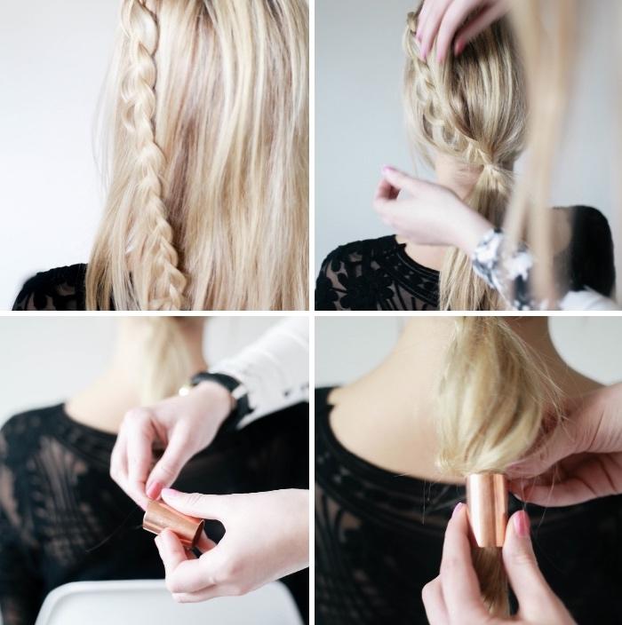 Elastico di metallo, capelli lunghi lisci, pettinature con trecce