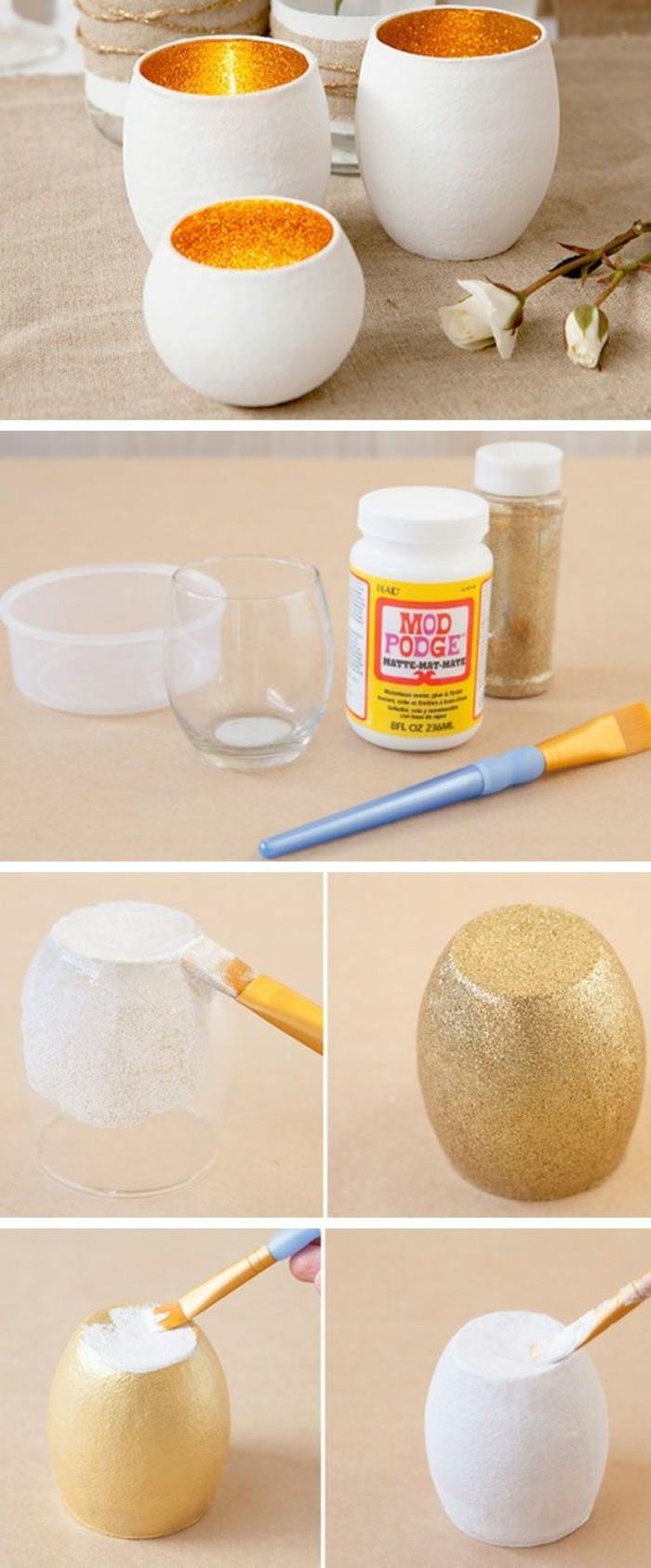 Portacandele con bicchiere, bicchiere di vetro, portacandele colore oro glitter
