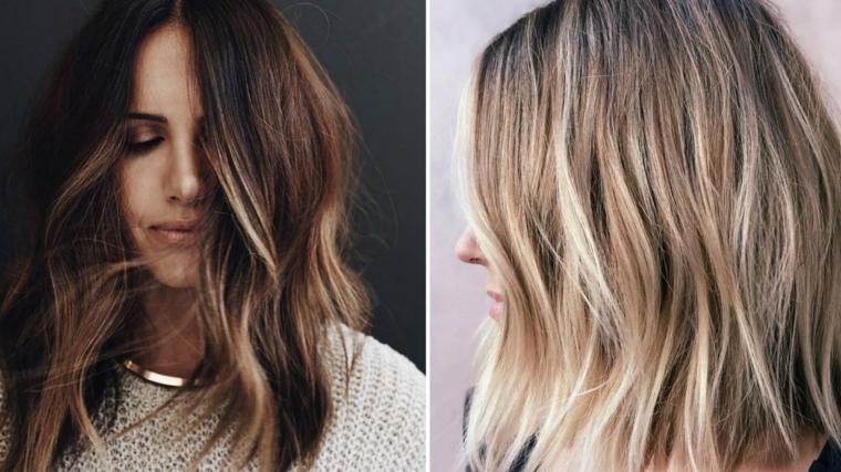 Come schiarire i capelli in modo naturale, prima e dopo, capelli mossi