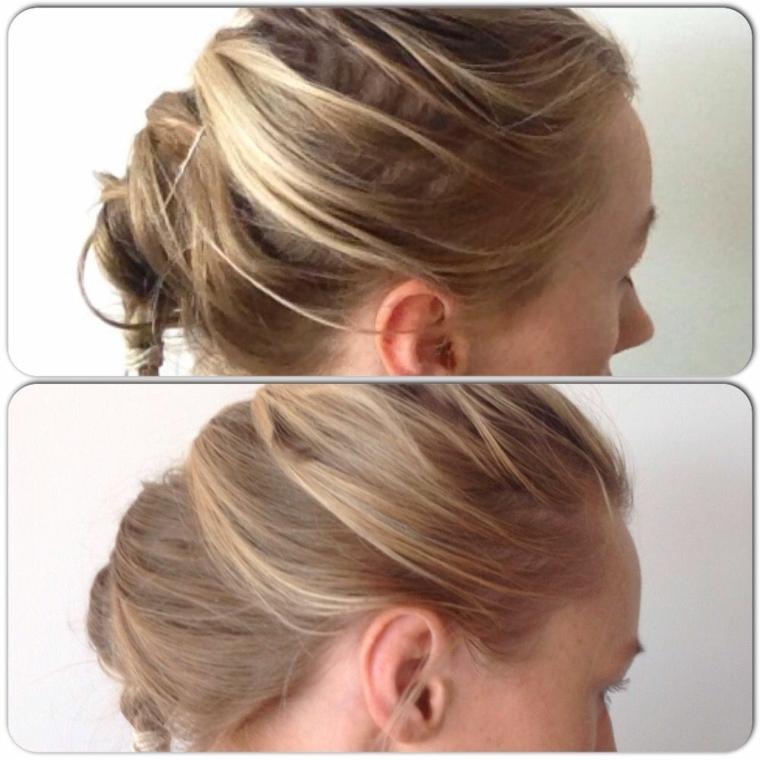 Schiarire i capelli con la camomilla, prima e dopo, acconciatura capelli raccolti