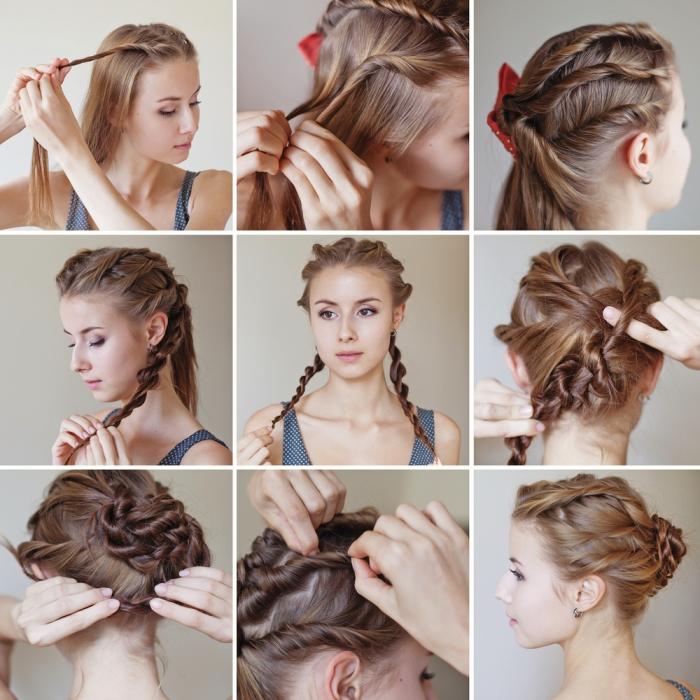 Acconciature capelli lungi lisci, capelli di colore biondo, capelli arrotolati
