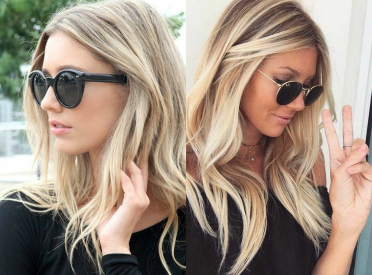 Schiarente capelli, ragazza con capelli biondi, occhiali da sole