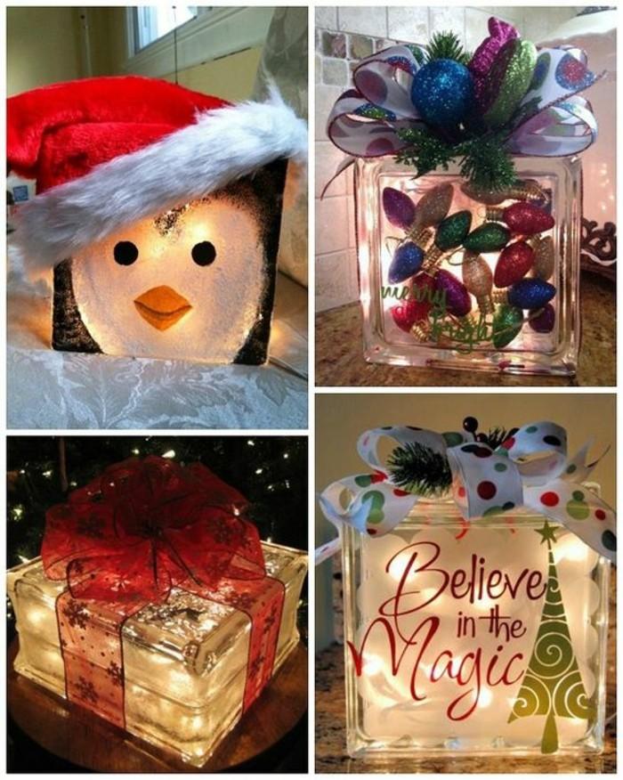 Idea regalo per Natale, pacchi di vetro decorati