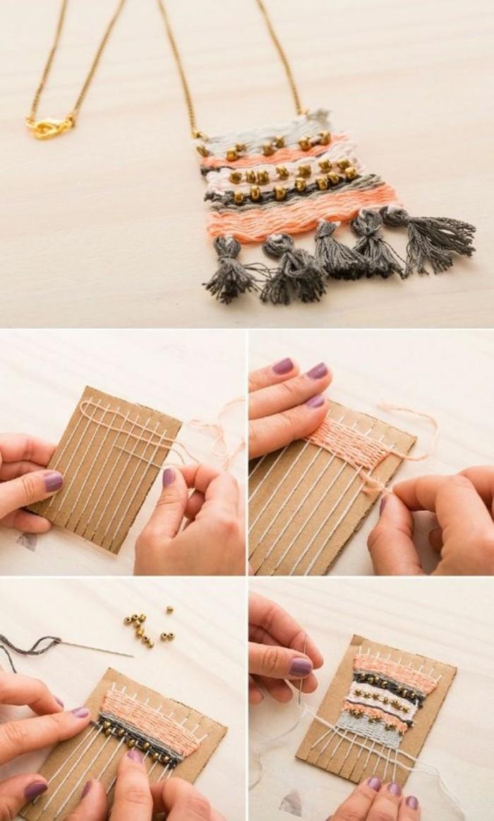 Come fare una collana, tutorial con fili colorati, ciondolo donna con nappe