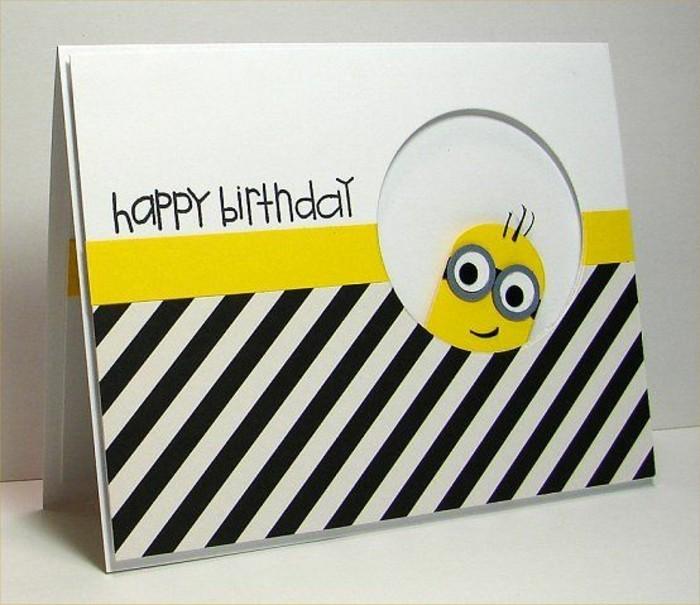 Bigliettino con minions, cartolina con scritta, scritta buon compleanno per bimbo