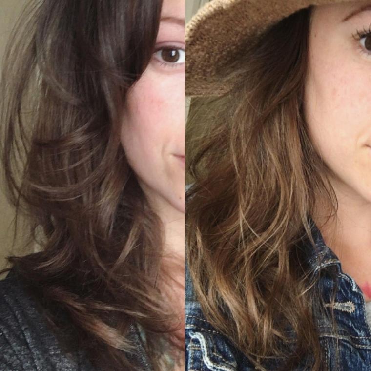 Capelli schiariti, acconciature capelli mossi, cappello di paglia