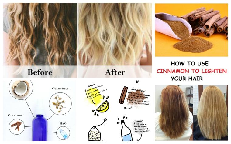 Schiarire con la cannella, prima e dopo, capelli lunghi e ricci