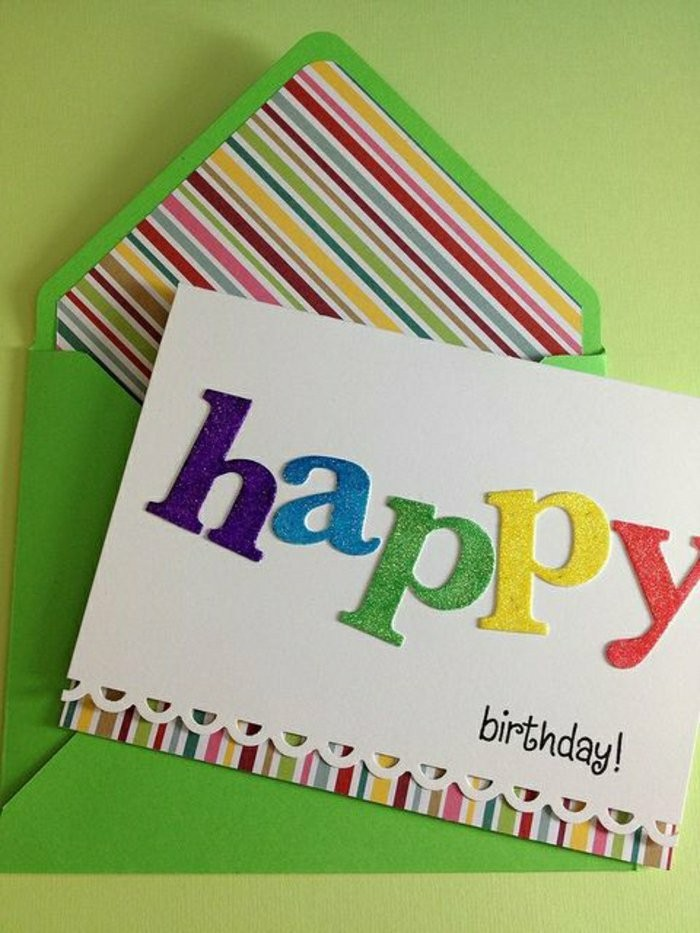 Biglietto di compleanno, cartolina fatta a mano, lettere colorate glitter