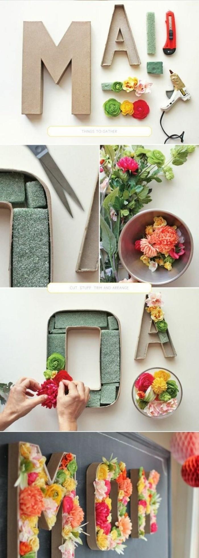 Scritta con lettere di legno, lettere di legno fiori