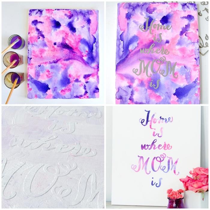Come fare i disegni astratti, tela con disegni, scritta sulla tela