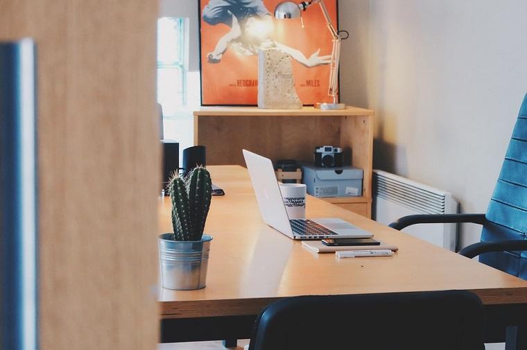 Scrivania di legno, computer portatile, pianta grassa, studio in casa