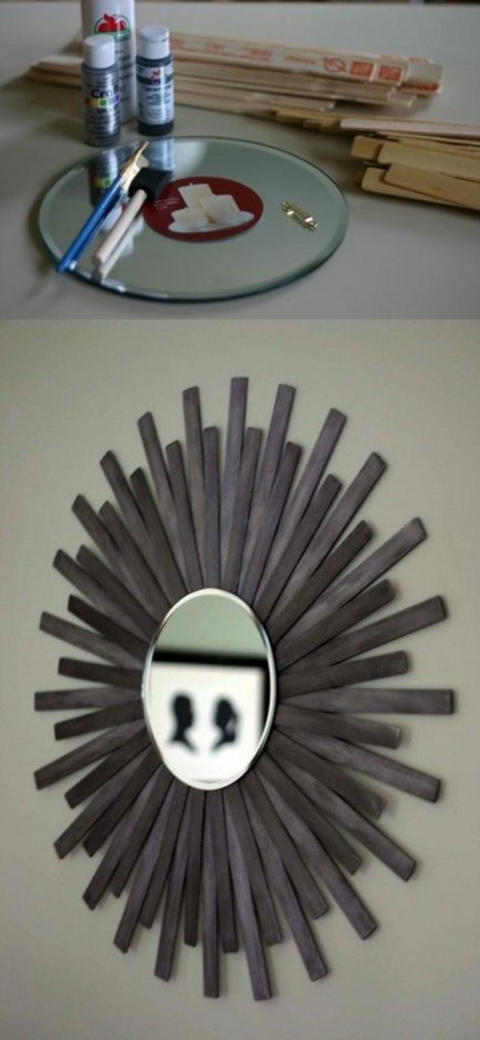 Specchio sole, specchio con cornice di legno, legno dipinto di grigio