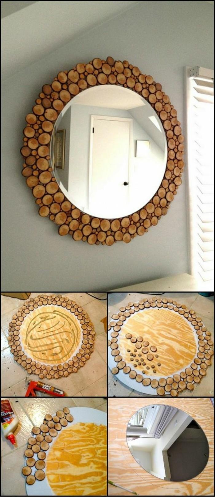 Decorazioni specchio con legno, specchio per il muro