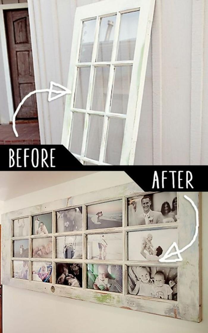 Finestra di legno trasformata, finestra cornice per foto