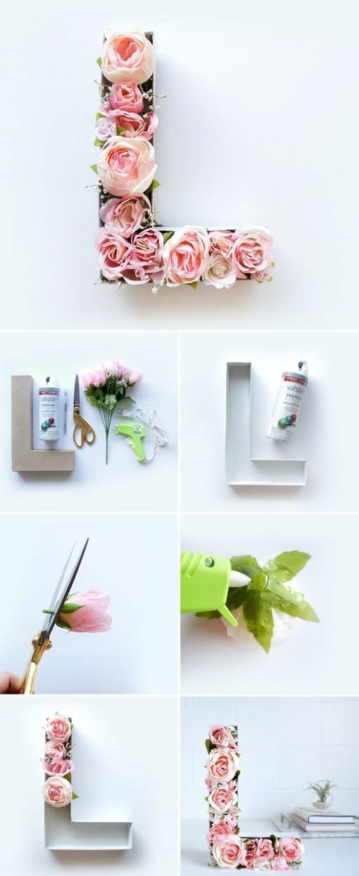 Lettera L di carta, decorazioni con fiori, addobbi da appendere al muro