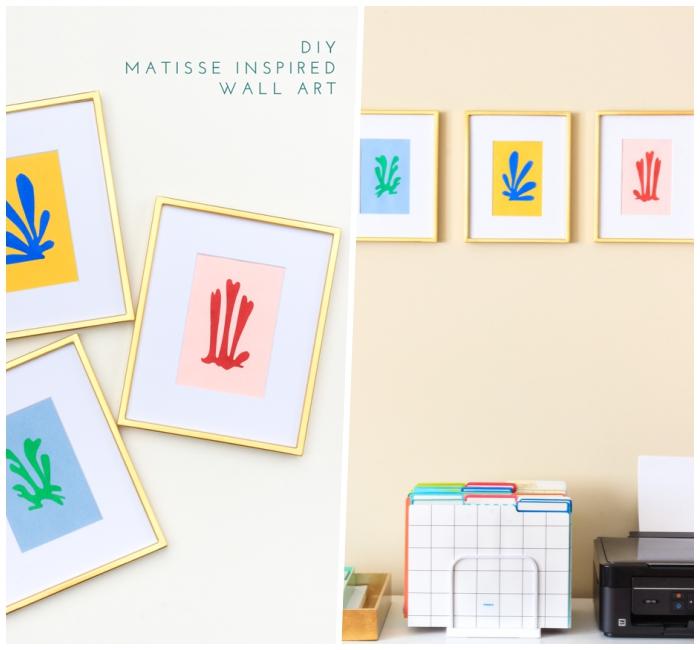 Cornici da parete, scritte adesive per pareti, scrivania con stampante