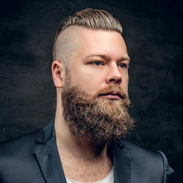 Pettinature uomo, ragazzo con barba, taglio rasato lateralmente