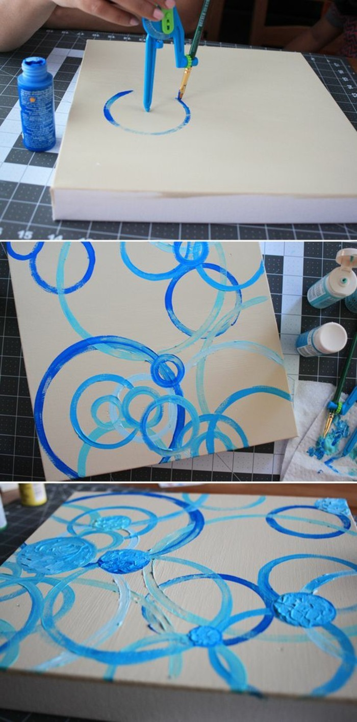 Disegno su tela, tela di colore bianco, colore blu acrilico