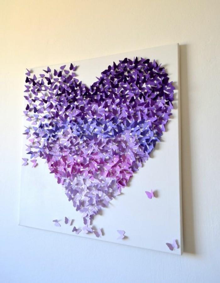 Quadro di tela, farfalle di carta, figura cuore, decorazioni muri interni