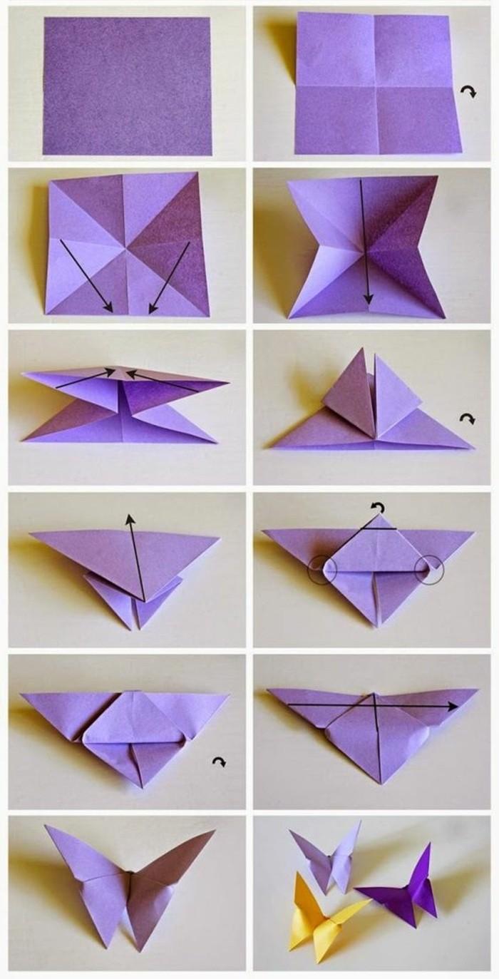 Origami di carta viola, farfalle di carta, tutorial per origami