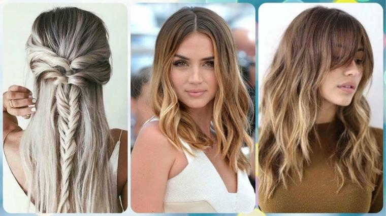 Tre donne, schiarente capelli, acconciatura con treccia, capelli mossi, pettinatura con frangia