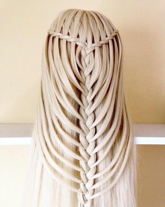 Acconciature capelli lunghi lisci, treccia a spina