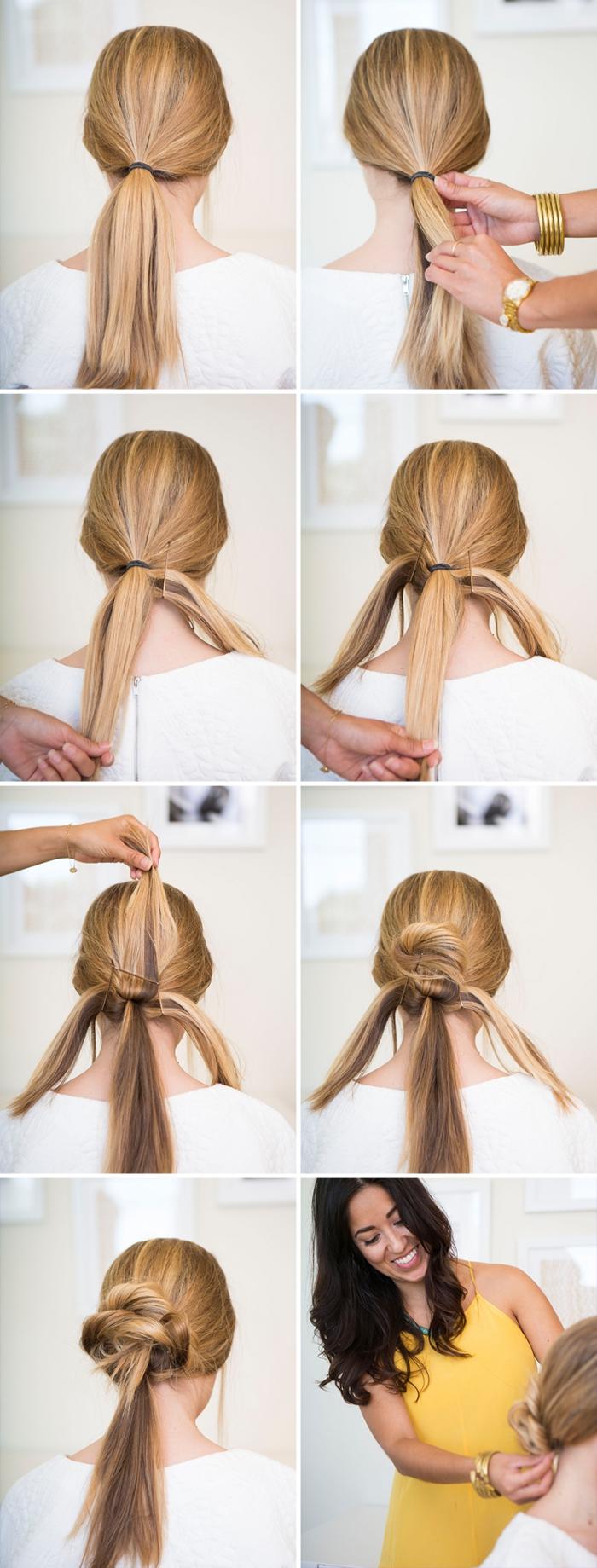 Acconciature capelli sciolti, donna con capelli biondi, tutorial pettinatura