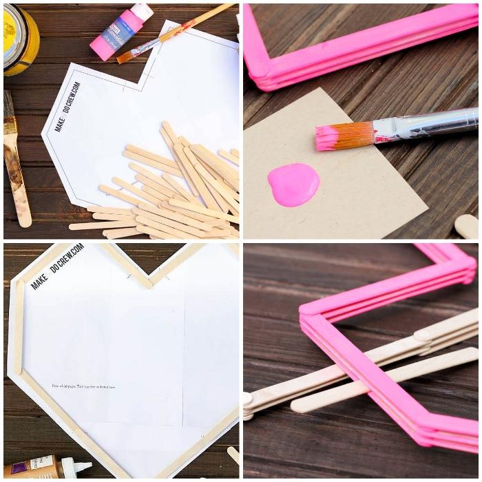 Dipingere il legno, bastoncini di legno incollati, cuore di cartone