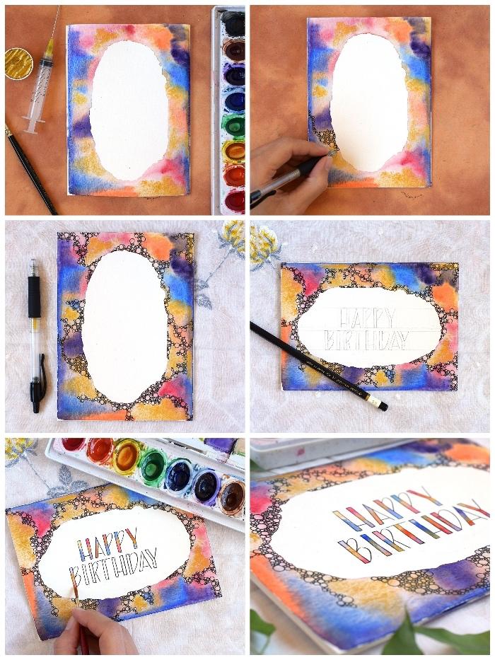 Biglietti compleanno fai da te, tutorial con foglio bianco, pennello e colori