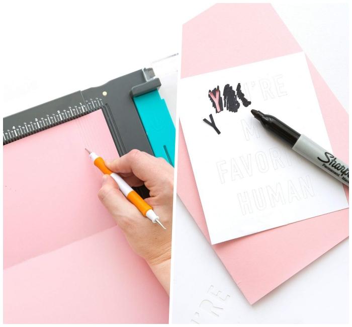Tutorial con foglio rosa, scritta con pennarello, biglietti compleanno fai da te