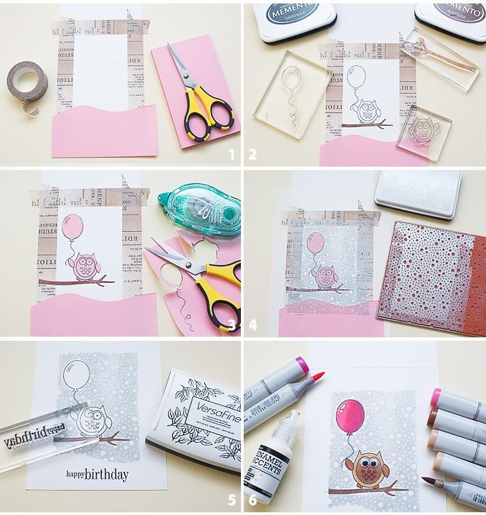 Biglietti buon compleanno, tutorial con cartoncino rosa, disegno con gufo