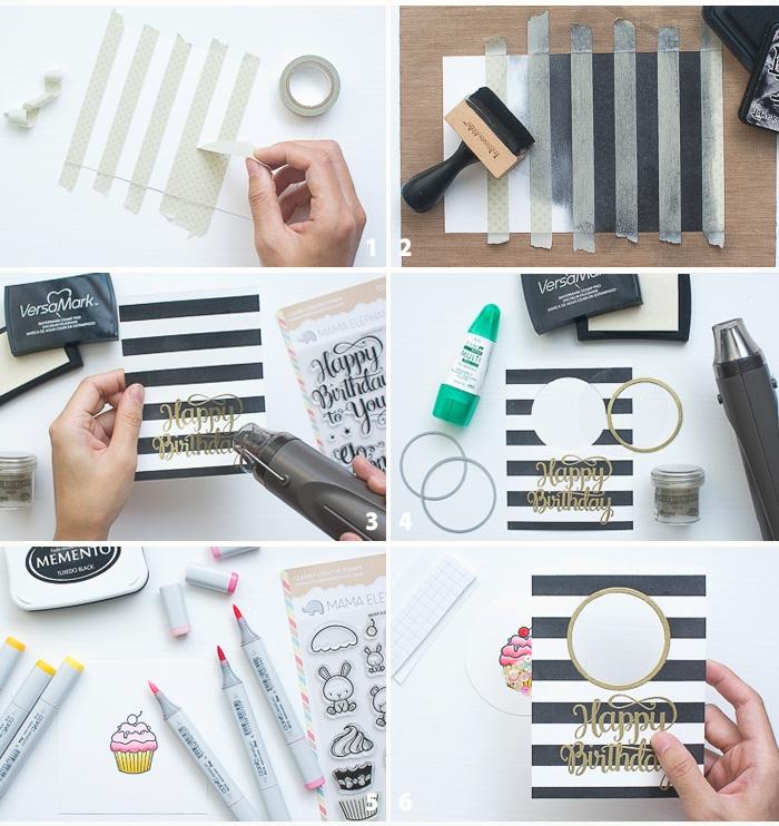 Tutorial con timbri, buon compleanno personalizzato gratis, scritta con pennarelli