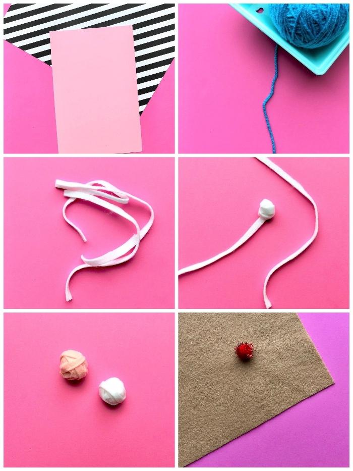 Lavoretti per compleanni, pallina rosa e bianca, cartoncino rosa