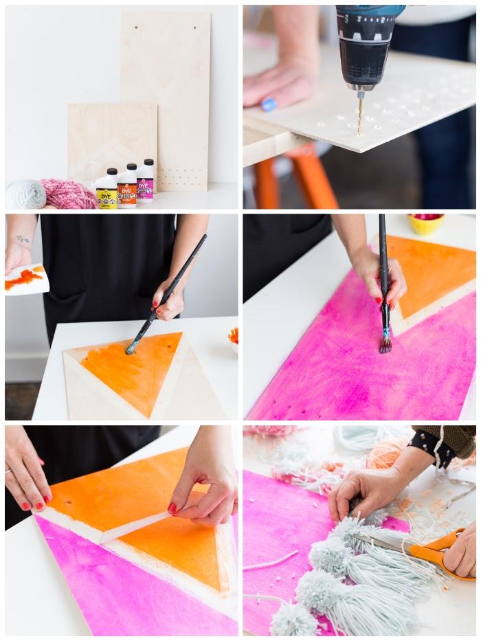 Come decorare le pareti, lastra di legno dipinta, tutorial per creare addobbi