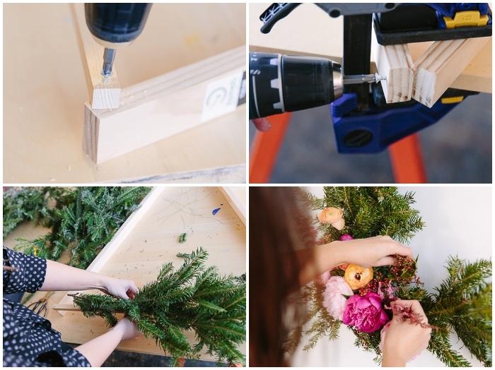 Tutorial con trapano, triangolo di legno, rametti e fiori finti, decorazioni pareti camera da letto