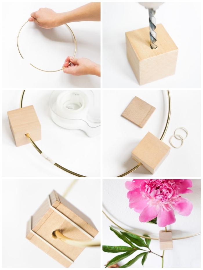 Come decorare le pareti della cucina, anello di metallo, perfora il cubo di legno con trapano