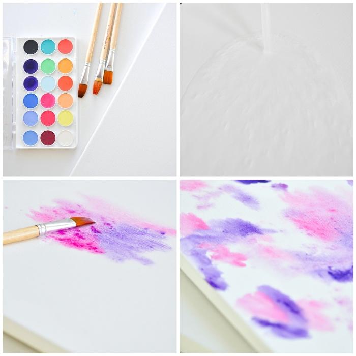 Disegno astratto, colori e pennelli, disegno sul tela
