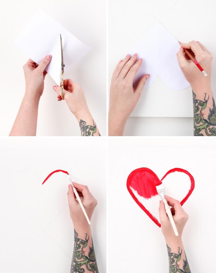 Stickers da muro, ritagliare con forbici, disegno cuore con pennello