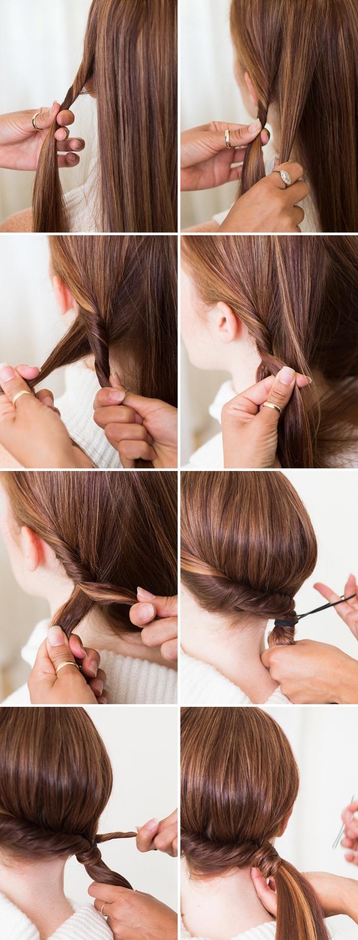 Pettinature con trecce, capelli di colore castano, tutorial acconciatura