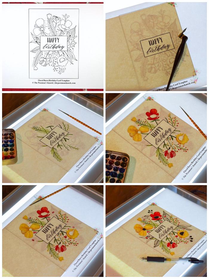 Come scrivere un biglietto di auguri, cartolina con fiori, disegni di fiori