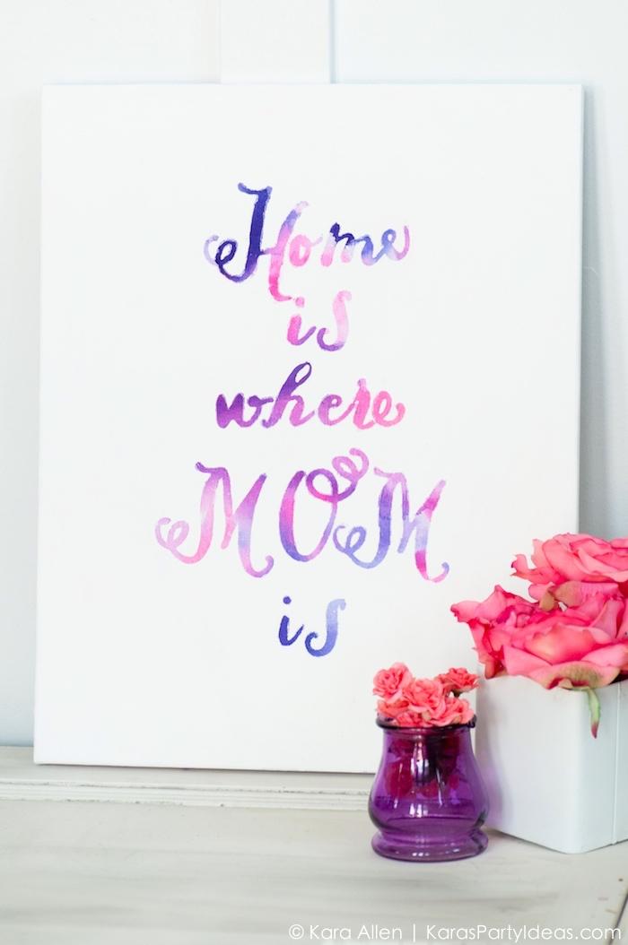 Tela con scritta, scritte adesive per pareti, vasi con fiori