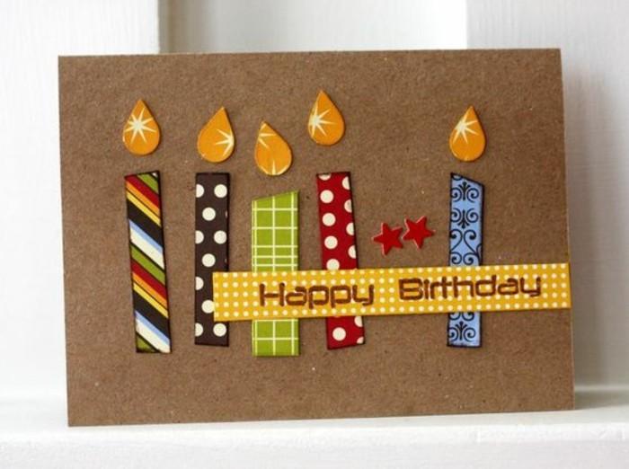 Cartolina marrone, disegno con candeline, decorazioni con washi tape