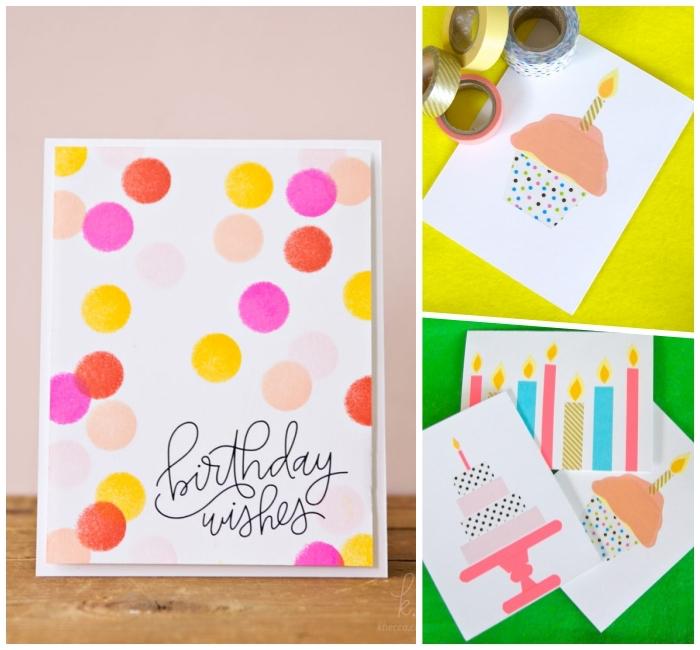 Come compilare una cartolina, disegno con washi tape, disegno cupcake