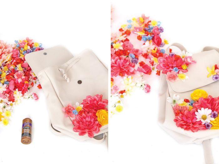 Idee regalo creative, zaino colore bianco, zaino decorato con fiori