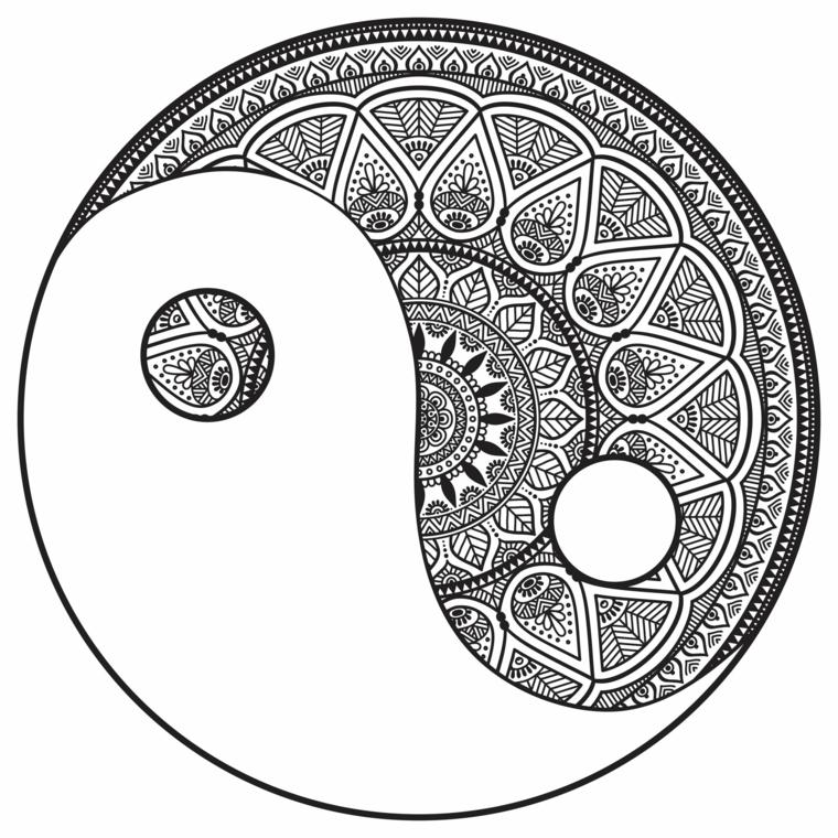 Il simbolo di Yin Yang, disegno bianco e nero, raffigurazione di un mandala